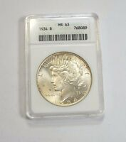 1934 PEACE DOLLAR CERTIFIED ANACS MINT STATE 63  SILVER $