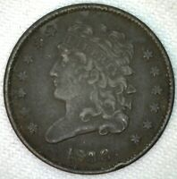 1833 CLASSIC HEAD COPPER HALF CENT US TYPE COIN EXTRA FINE  1/2 CENT SM RIM DING DARK K19
