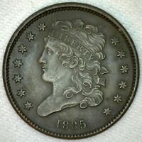 1835 CLASSIC HEAD COPPER HALF CENT US TYPE COIN EXTRA FINE  EXTRA FINE 1/2 CENT DARK K20
