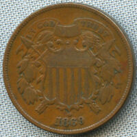 1869 TWO CENT PIECE EXTRA FINE