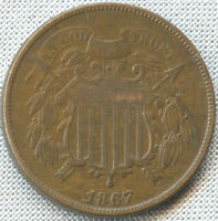 1867 TWO CENT PIECE VF