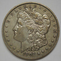 1902 $1 MORGAN SILVER DOLLAR, EXTRA FINE  DETAILS/REVERSE MARKS & HAIRLINE SCRATCHES