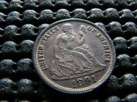 1891-O AU SEATED DIME WITH PARTIAL RIM CUD REVERSE