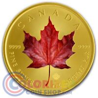 2019 1 OZ CANADIAN SILVER RED MAPLE COLORIZED GOLD GILDED CO