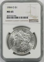 1904-O $1 NGC MINT STATE 65 MORGAN SILVER DOLLAR