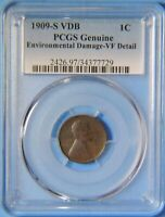 1909 S VDB LINCOLN WHEAT CENT PENNY PCGS GRADED VF EXTREMELY