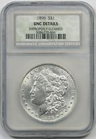 1896 $1 MORGAN SILVER DOLLAR NCS UNC DETAILS IMPROPERLY CLEANED