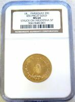 18 88  GOLD PARAGUAY PATTERN STRUCK ON ARGENTINA ARGENTINO NGC MINT STATE 64