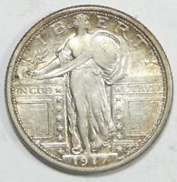 1917-D TY-1 STANDING LIBERTY QUARTER ALMOST UNCIRCULATED SILVER 25C