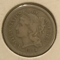 1882 THREE CENT NICKEL  VF
