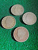 1904,1905,1906,1907, LIBERTY HEADV NICKELS,  4 COINS - 1 PRICE