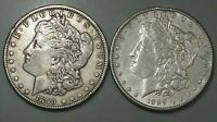 2 MORGAN DOLLARS. 1889, 1890 RIM DENTS. 3