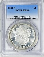 1882-S  MORGAN SILVER DOLLAR - PCGS MINT STATE 64  -  TOP OF ITS