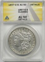 1897-O $1 ANACS AU 50 DETAILS CLEANED MORGAN SILVER DOLLAR