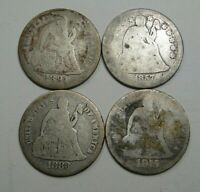 4- SEATED LIBERTY DIMES. 1875, 1857, 1883, 1891.  11