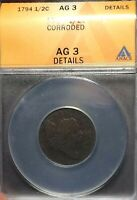 1794 ANACS AG 3 DETAILS CORRODED LIBERTY CAP HALF CENT 1/2C BOLD DATE