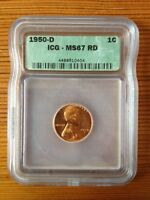 LINCOLN WHEAT CENT PENNY 1950 D ICG GRADED MINT STATE 67 RD
