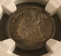 1881 SEATED LIBERTY DIME ,  NGC AU58 , DATE