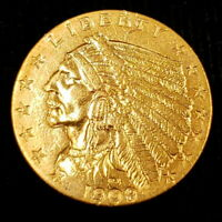 1909 US AMERICAN INDIAN HEAD QUARTER GOLD EAGLE $2.5 COLLECT