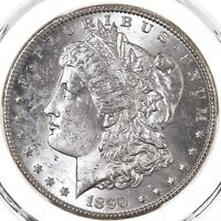 1890-CC MORGAN $1 PCGS CERTIFIED MINT STATE 62 CARSON CITY MINT STATE SILVER DOLLAR COIN