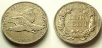 NEARLY A/U 1857 FLYING EAGLE CENT-STRONG DETAILS SHIPS FREE
