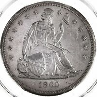 1860-O SEATED LIBERTY $1 PCGS CERTIFIED UNC DETAILS CLEANED NOLA SILVER DOLLAR