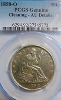 1858-O 50C SEATED LIBERTY SILVER HALF -PCGS AU DETAILS - R THAN -