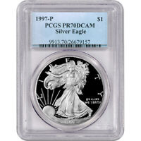 1997 P PCGS PR70 PROOF AMERICAN SILVER EAGLE ONE DOLLAR COIN