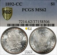 1892-CC $1 MORGAN SILVER DOLLAR PCGS MINT STATE 62  OLD TYPE COIN MONEY