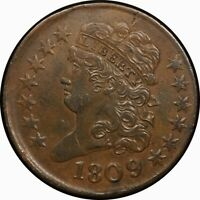 1809/6 1/2C CLASSIC HEAD HALF CENT AU INVERTED DATE  OLD TYPE COIN MONEY