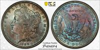 PCGS 1886 MINT STATE 64 RAINBOW TONED MORGAN SILVER DOLLAR TRUE KALEIDOSCOPE OF COLOR