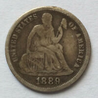 1889-P SEATED LIBERTY DIME SILVER U.S. TYPE COIN A5270