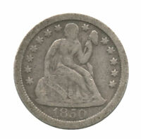 1850-O SEATED LIBERTY SILVER DIME SCRATCHED REVERSE