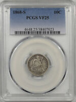 1868-S SEATED LIBERTY DIME PCGS VF-25