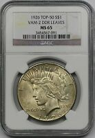 1926 $1 NGC MINT STATE 65 VAM-2 DDR LEAVES PEACE SILVER DOLLAR