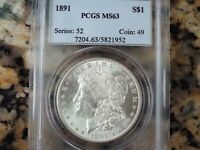 $185-$260 VALUE  1891-P MORGAN SILVER DOLLAR, PCGS MINT STATE 63