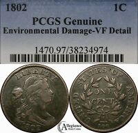 1802 1C DRAPED BUST LARGE CENT PCGS VF DETAILS NO STEMS  OLD TYPE COIN J