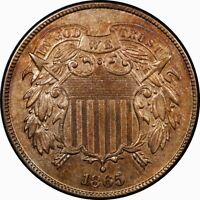 1865 2C TWO CENT PIECE BU MS UNC RB RED BROWN RARE OLD TYPE
