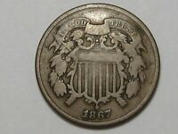 1867 US TWO CENT PIECE COIN. 2.  36