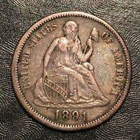 1891 SEATED DIME - HIGH QUALITY SCANS G775