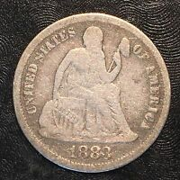 1883 SEATED LIBERTY DIME - HIGH QUALITY SCANS F513