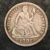 1891-O SEATED LIBERTY DIME - HIGH QUALITY SCANS F505