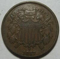 1867 EXTRA FINE  TWO CENT PIECE,  COLOR & EYE APPEAL, SHIPS FREE
