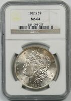 1882-S $1 NGC MINT STATE 64 MORGAN SILVER DOLLAR