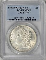 1887/6-O  PCGS  MINT STATE 62    7 OVER 6 OVERDATE    VAM-3  TOP 100    15265037