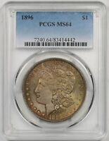 1896 $1 PCGS MINT STATE 64 TONED MORGAN SILVER DOLLAR
