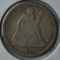 1891-O 10C SEATED LIBERTY DIME NEW ORLEANS CIRCULATED FINE