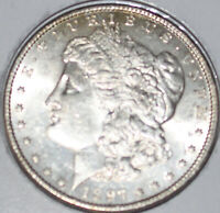 1897-P MORGAN SILVER DOLLAR UNCIRCULATED BU, LIGHT TONING BOTH SIDES