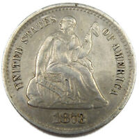 1873 S SEATED LIBERTY 1/2 DIME    GREAT DETAILS