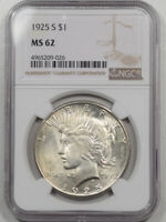 1925-S PEACE DOLLAR NGC MINT STATE 62